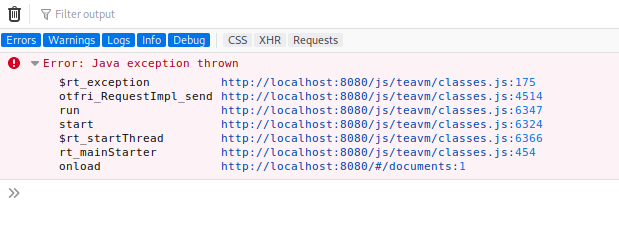fetch request fails with Java exception thrown